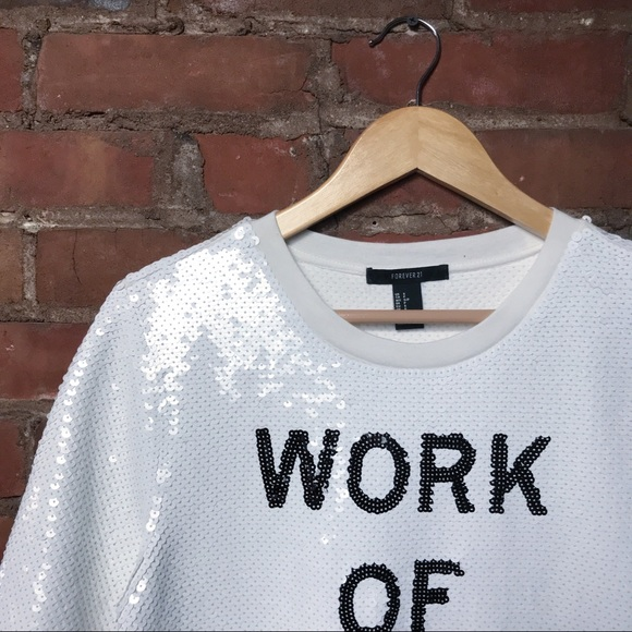 1a4ad442e107d Forever 21 WORK OF ART Sequin Top